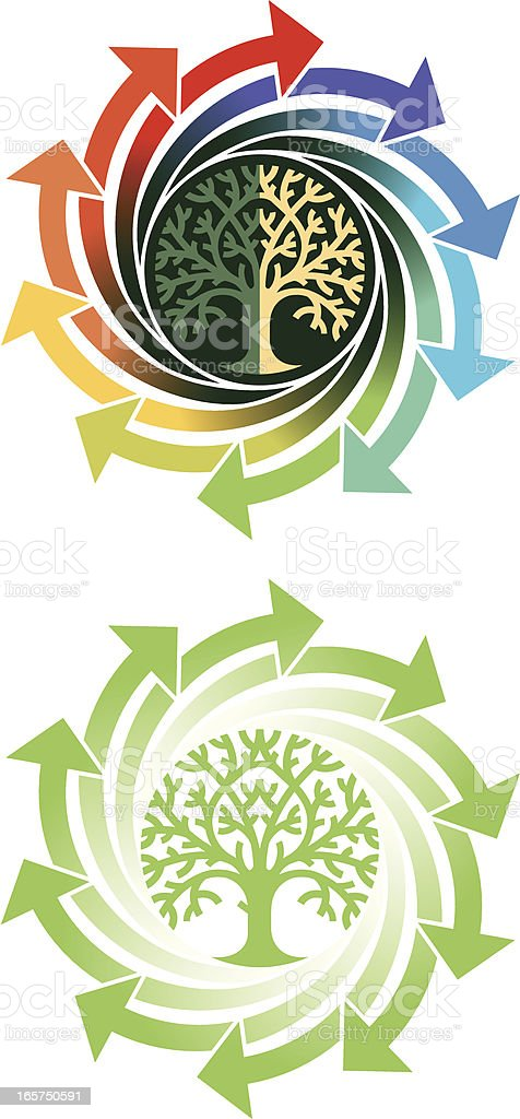 Round tree arrows vector art illustration