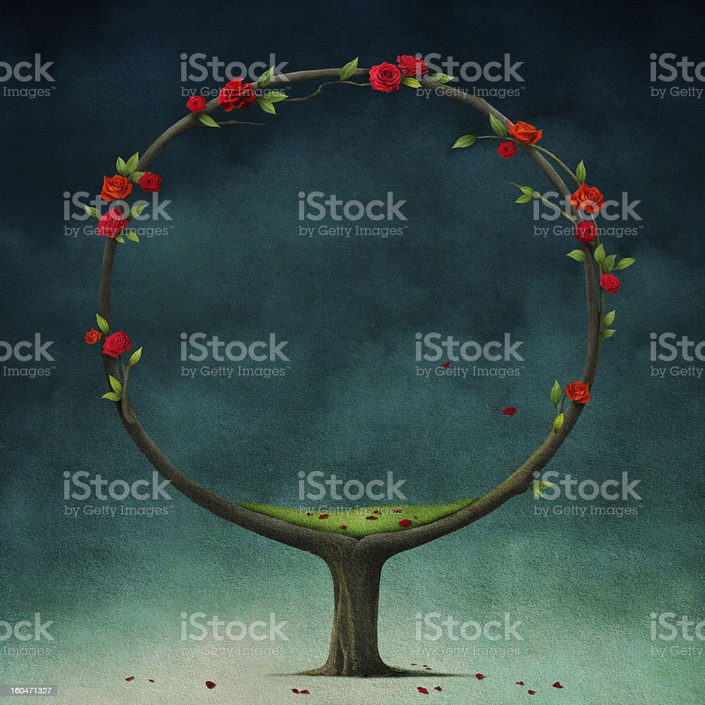 Round tree with roses. royalty-free stock vector art