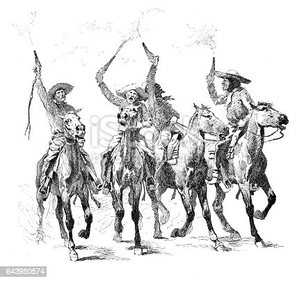 Rowdy Cowboys - scanned 1888 engraving