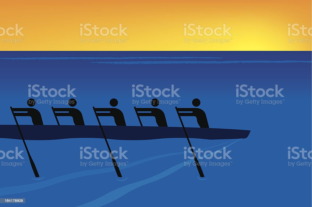 rowing vector art illustration
