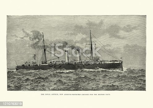 Vintage engraving of HMS Royal Arthur was a first class cruiser of the Edgar class