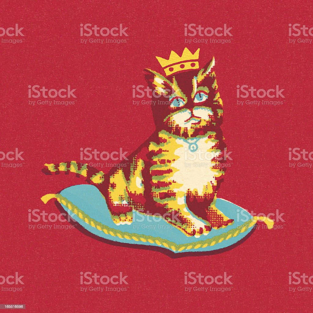 Royal Cat Sitting on a Pillow royalty-free royal cat sitting on a pillow stock vector art & more images of animal