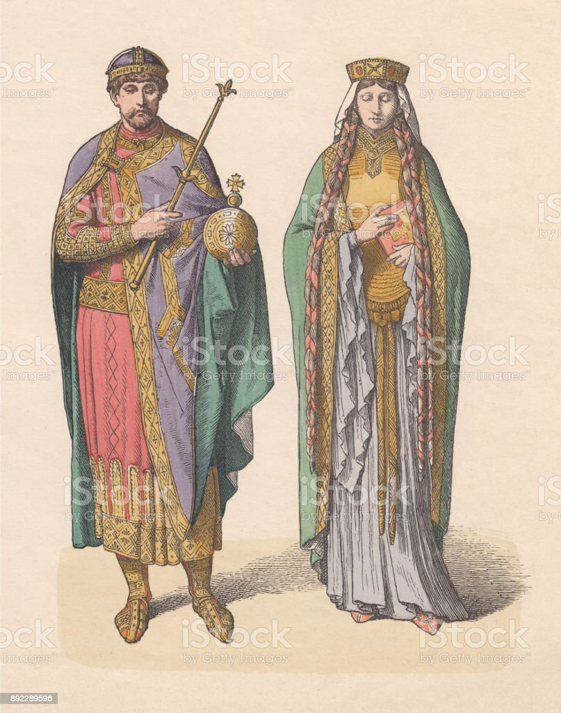 Royal couple, East Franconia, 11th century, hand-colored woodcut, published c.1880 vector art illustration