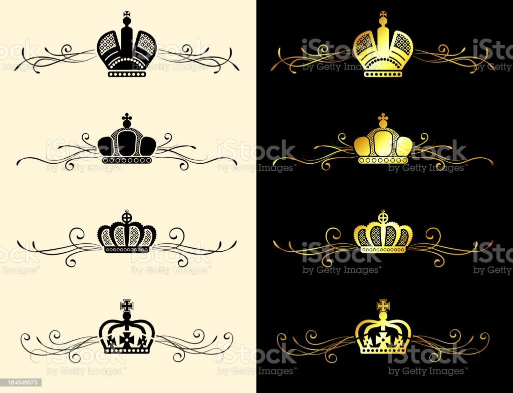 Royal crown gold & black and white banner set royalty-free stock vector art