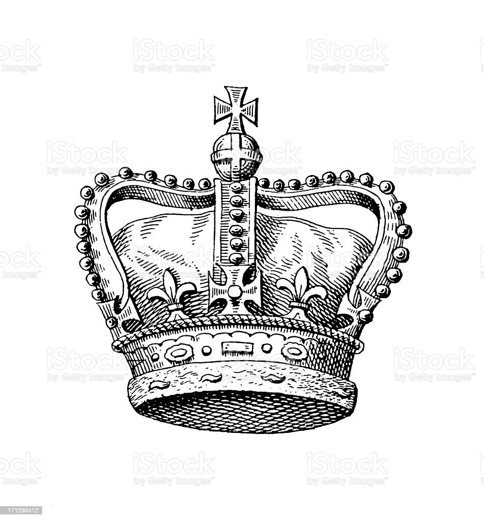 Royal Crown of the United Kingdom | Historic Monarchy Symbols vector art illustration
