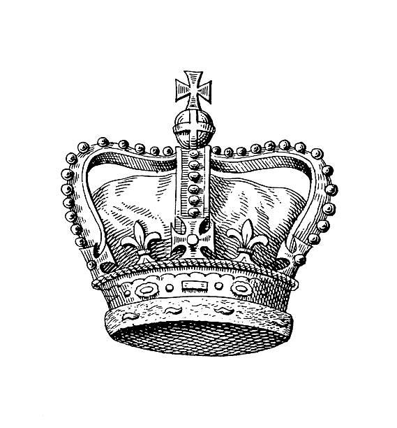 stockillustraties, clipart, cartoons en iconen met royal crown of the united kingdom | historic monarchy symbols - britse cultuur