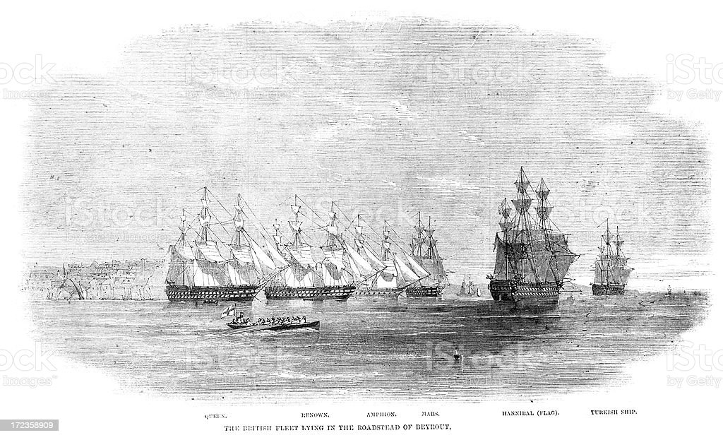 Royal Navy Fleet royalty-free royal navy fleet stock vector art & more images of 1860-1869