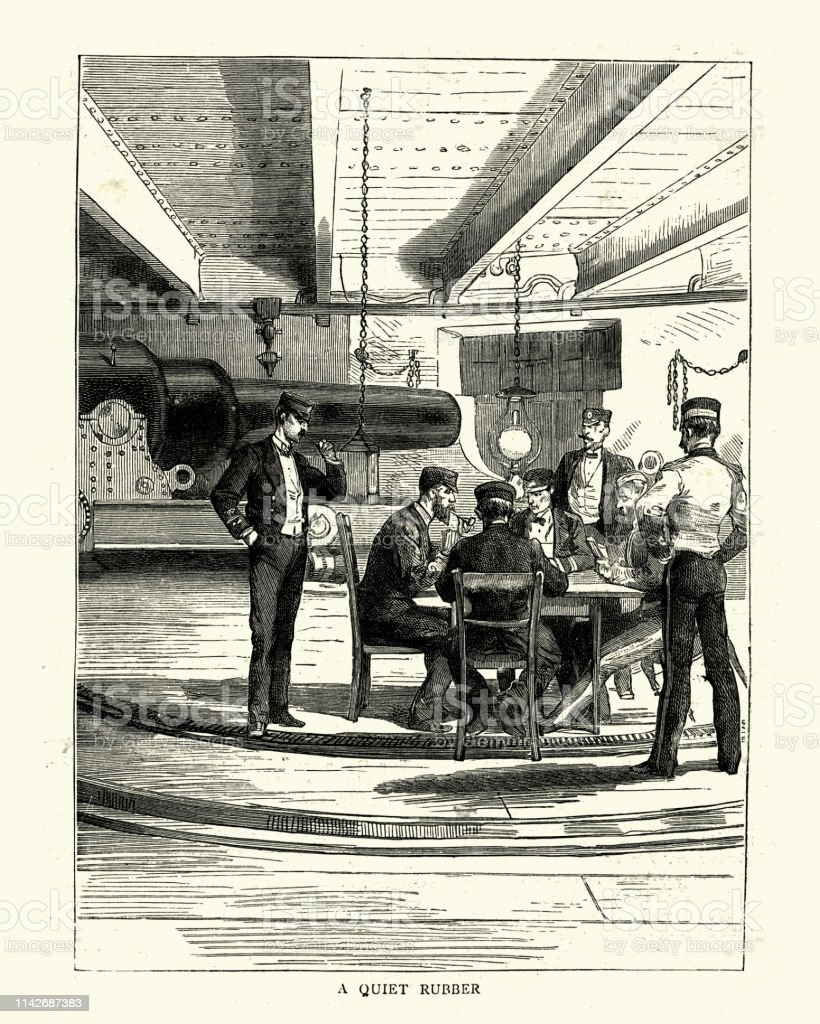 Vintage engraving Royal Navy officers play game of cards, HMS Nelson,...
