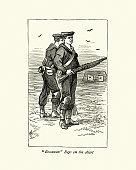 Royal Navy sailors on the target range, Portland, 19th Century
