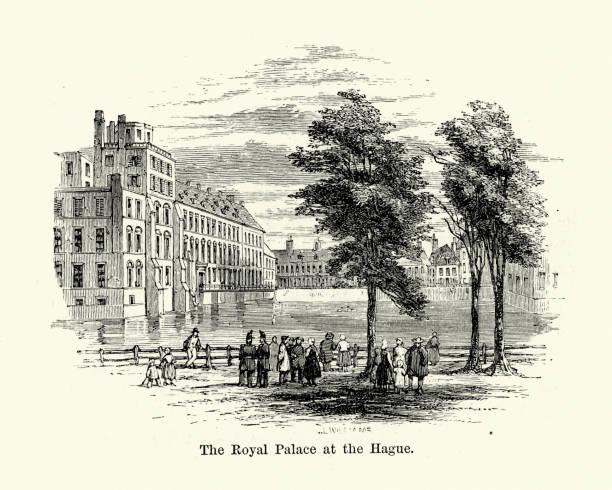 stockillustraties, clipart, cartoons en iconen met koninklijk paleis in den haag, 19e eeuw - den haag