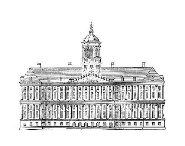 illustrations, cliparts, dessins animés et icônes de palais royal d'amsterdam, pays-bas et l'architecture antique illustrations - dam