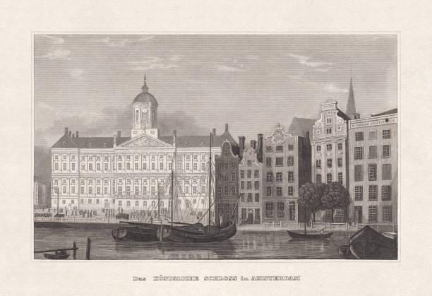 illustrations, cliparts, dessins animés et icônes de palais royal d'amsterdam, pays-bas, gravure sur acier, publié en 1857 - dam