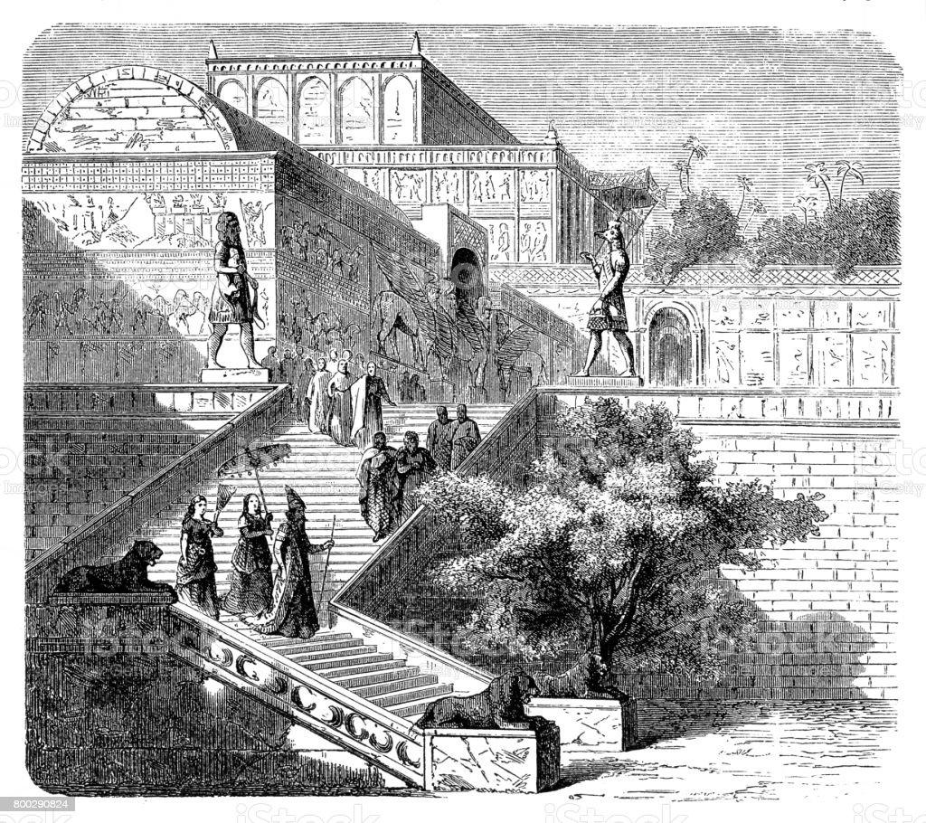 Royal palace of Assyria, Nineveh (reconstruction) vector art illustration