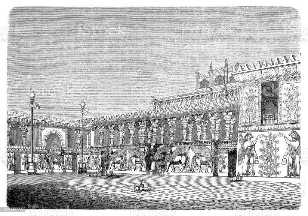 Royal palace of Dur-Sharrukin (Assyria, Iraq) vector art illustration
