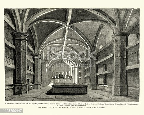 Vintage engraving of Royal vault under St George's Chapel, Windsor, 1884.  Showing the coffins of King George III, Queen Charlotte, Princess Amelia, Princess Charlotte and Infant, Duke of Kent, Duchess of Brunswick, Prince Alfred, Prince Octavius