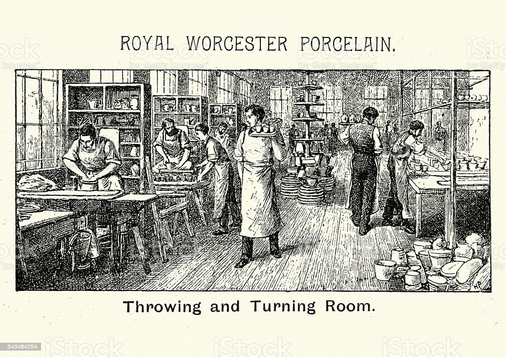 Royal Worcester Porcelain - Throwing and Turning Room vector art illustration