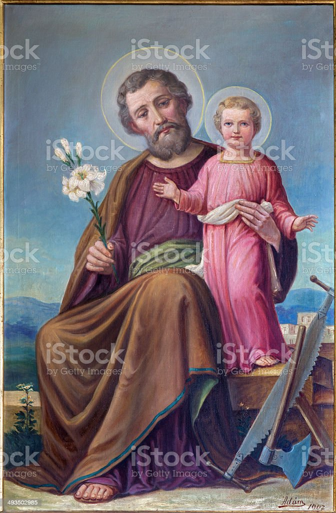 Roznava - Paint of St. Joseph in the cathedral vector art illustration