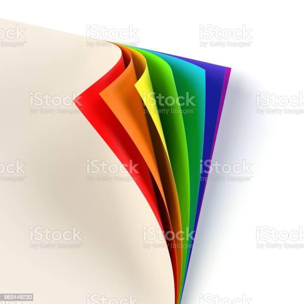 Rrainbow Gekleurde Gekrulde Document Hoek Stockvectorkunst en meer beelden van Aan de kant van