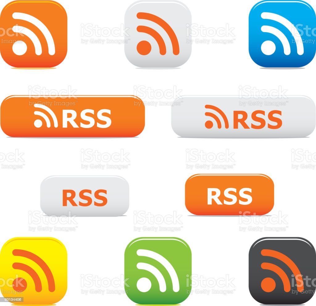 Rss buttons and symbols royalty-free stock vector art