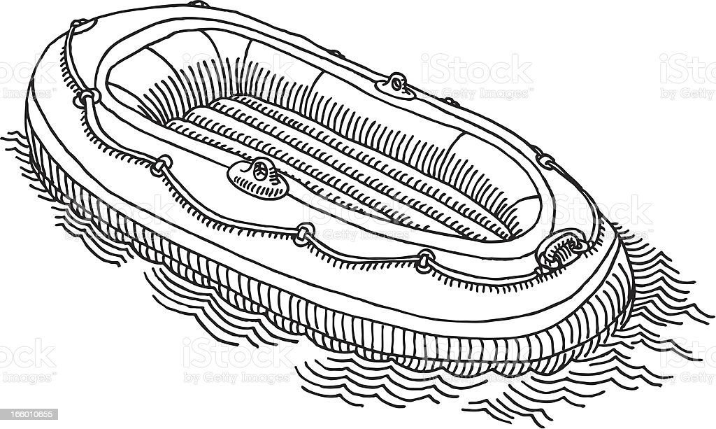 Rubber Boat Drawing royalty-free stock vector art