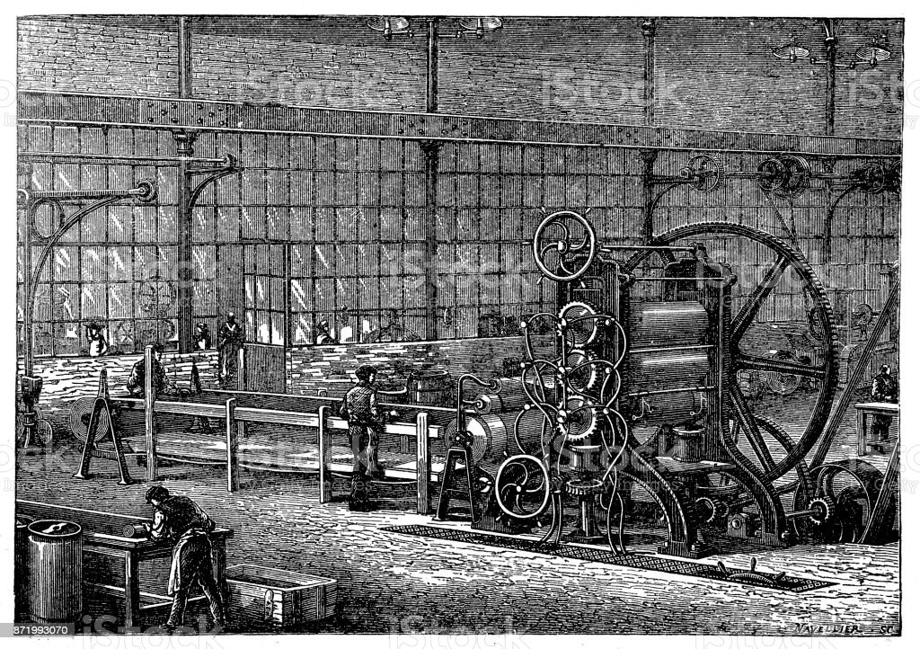 Fábrica de borracha, máquina para trazer a massa de borracha limpo sob a forma de placas de malte - ilustração de arte em vetor