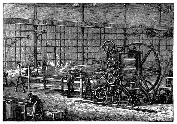 ilustrações, clipart, desenhos animados e ícones de fábrica de borracha, máquina para trazer a massa de borracha limpo sob a forma de placas de malte - molduras decorativas