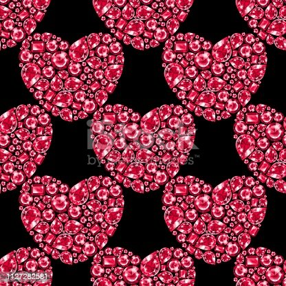 Ruby gem hearts. Seamless pattern with crystals
