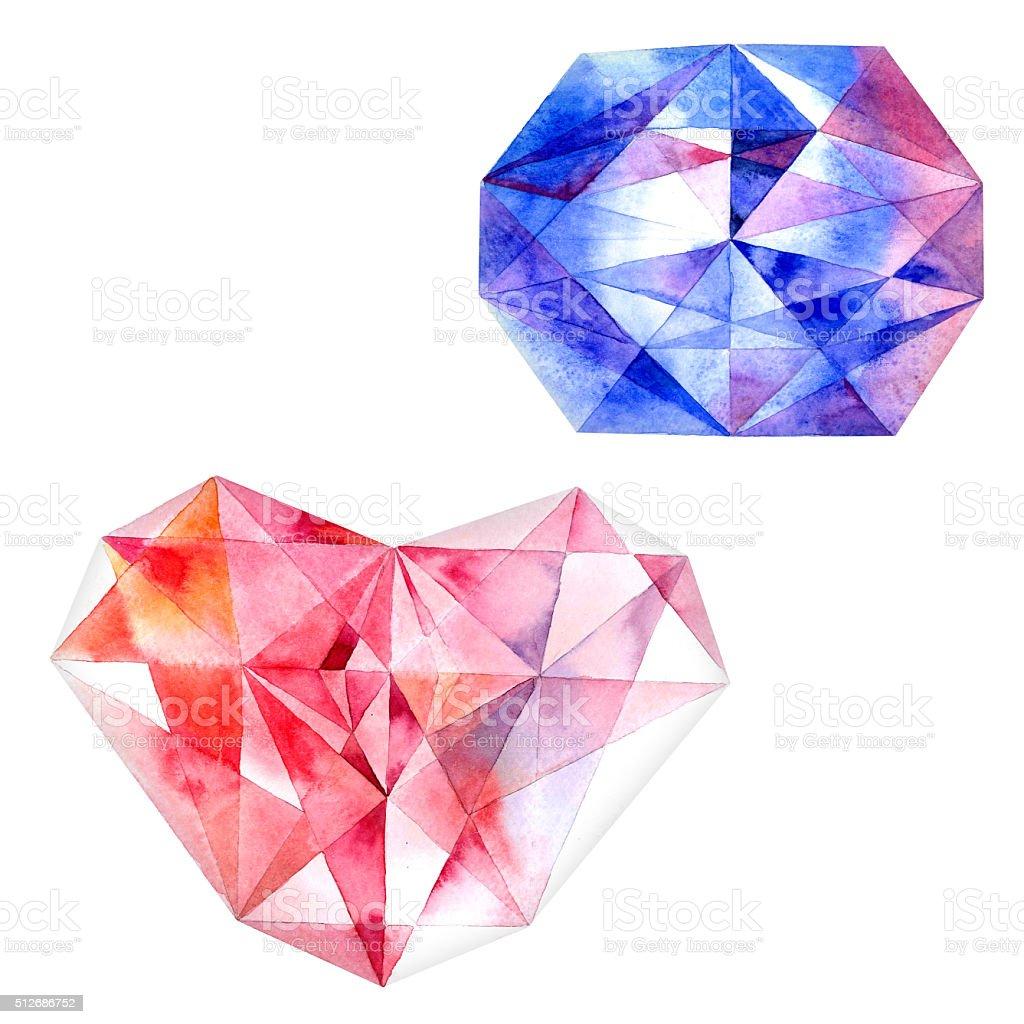 Ruby corazón y azul Diamond - ilustración de arte vectorial