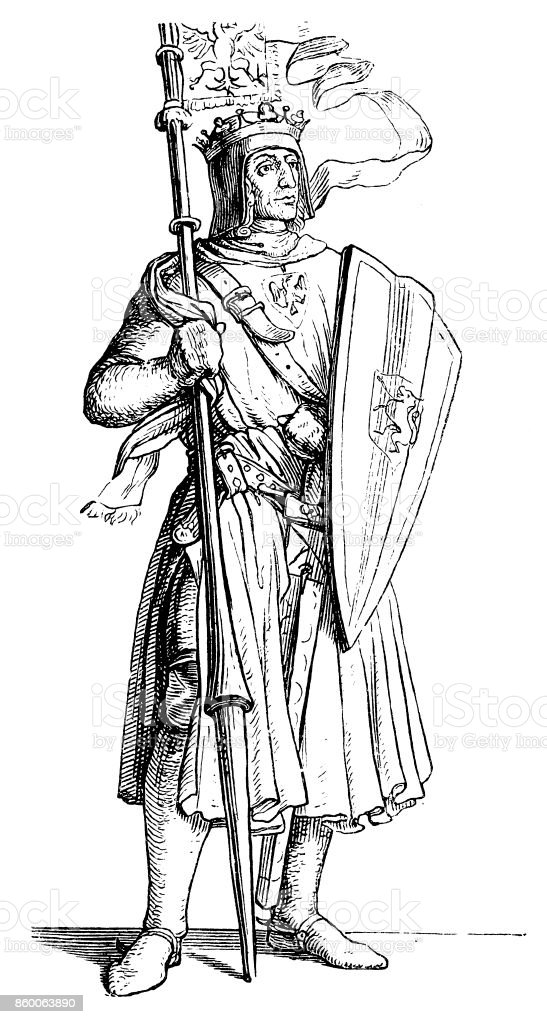 Rudolf I of Germany (1218-1291) vector art illustration