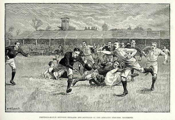 Rugby partida entre a Inglaterra e a Escócia - ilustração de arte em vetor