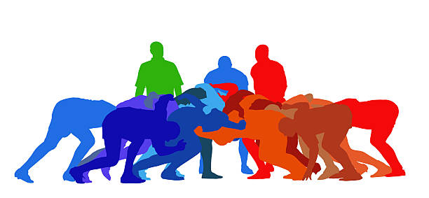 Rugby Scrum Isolation Best Color Sport Silhouette Isolation – Rugby Full Scrum rugby stock illustrations