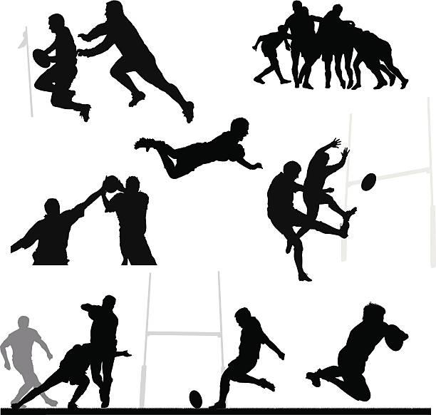 rugby-silhouette montage - rugby stock-grafiken, -clipart, -cartoons und -symbole