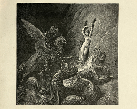 Ruggiero rescues Angelique from a sea monster, Orlando Furioso
