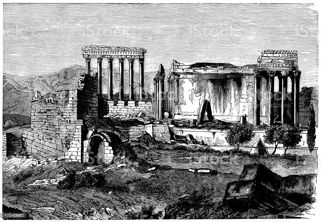 Ruins Of Baalbek, Lebanon royalty-free ruins of baalbek lebanon stock vector art & more images of 19th century