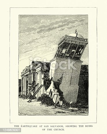 Vintage illustration of Ruins of Church after earthquake at San Salvador, 19th Century