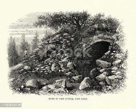 Vintage engraving of the Ruins of Fort Putnam, West Point, 19th Century. Fort Putnam was a military garrison during the Revolutionary War at West Point, New York, United States.