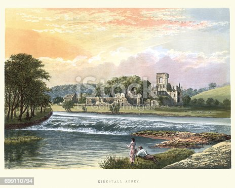istock Ruins of Kirkstall Abbey, West Yorkshire, England, 19th Century 699110794