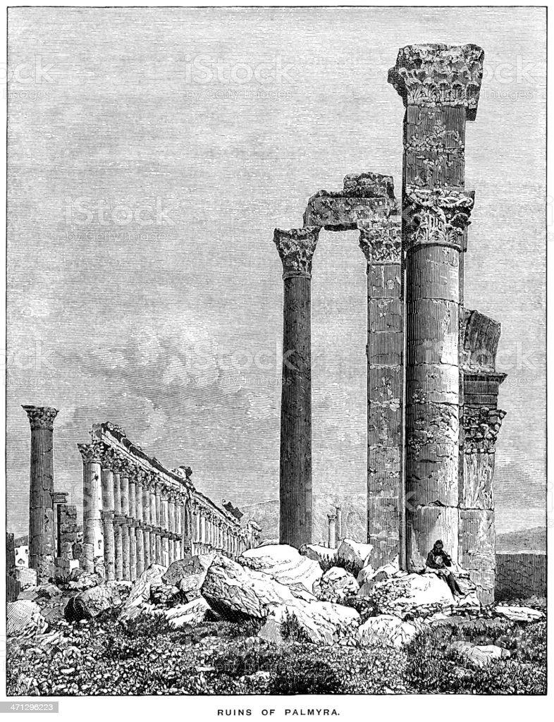 Ruins of Palmyra, Syria (1882 engraving) royalty-free stock vector art
