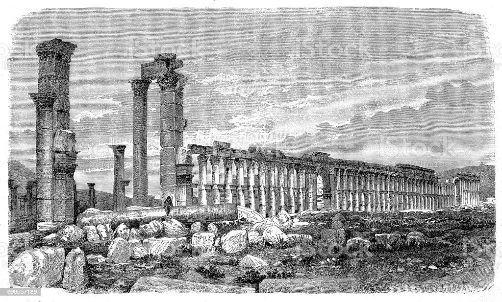Ruins of Palmyra, Syria vector art illustration