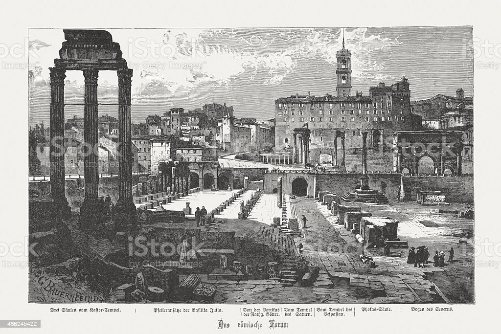 Ruins of Roman Forum in Rome, 19th century, published 1878 vector art illustration