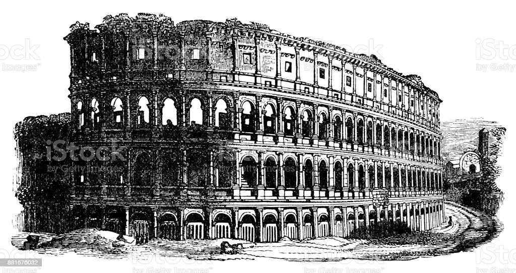 Ruins of the Colosseum in Rome (Victorian engraving) vector art illustration