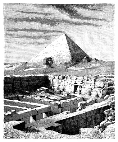 Ruins of the he Valley Temple of Chephren (Khafre), near the Great Sphinx of Giza, Egypt