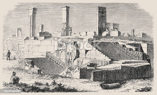 Illustration of a Ruins of the Palace of Xerxes in Persepolis, Iran