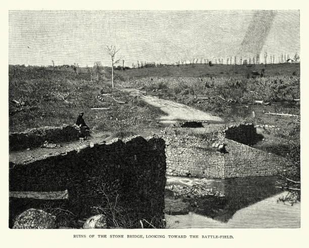 Ruins of the Stone Bridge on the Battlefield of Bull Run vector art illustration