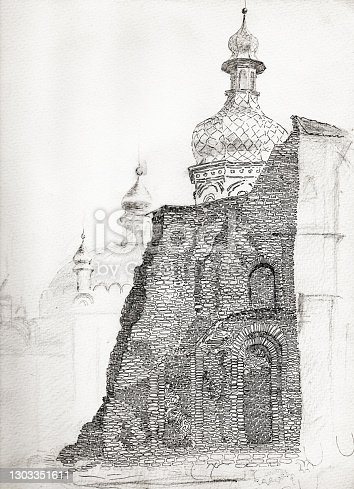 istock Ruins of the Uspensky Cathedral of Kiev Pechersk Lavra monastery the Kiev city in Ukraine. Ink and pen drawing over pencil sketch from 1980-th 1303351611