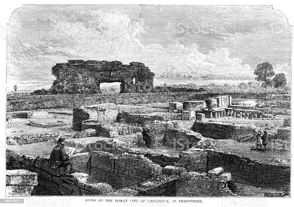 Ruins of Viroconium Cornoviorum vector art illustration