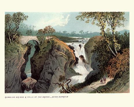 Vintage engraving of Rumbling Bridge, Falls of the Braan, near Dunkeld, Perth and Kinross, Scotland, 19th Century.
