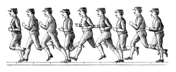 Runner frame of ten pictures in one second vector art illustration