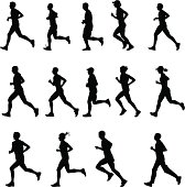 Set of 14 runners silhouettes. Side view. Every shape is on separate layer.