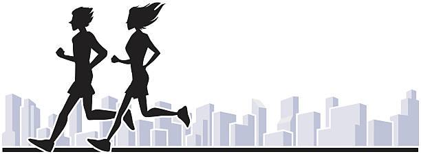 läufer in der stadt - langstreckenlauf stock-grafiken, -clipart, -cartoons und -symbole